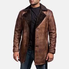mens cinnamon distressed leather fur coat 1