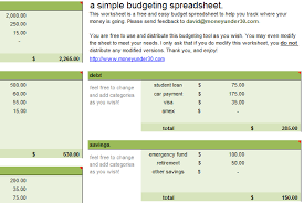 simple printable budget worksheet free budget spreadsheet monthly budget for excel