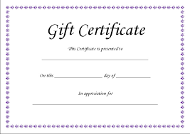 Gift Certificate Printable Free Blank Gift Certificate Template Business