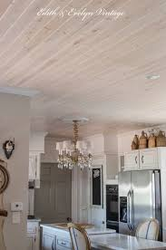 ceiling decorating ideas planked ceiling with white pickling finish from edith evelyn vintage