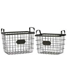 Get Quotations  Black Metal Wire Basket with Mesh Sides Handles and Card  Holders (Set of 2)