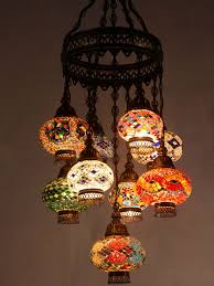 mosaic chandelier mixed length 9 piece mixed colours open