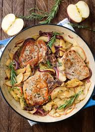 Autumn Dinner Menus One Pan Pork Chops With Apples And Onions The Chunky Chef