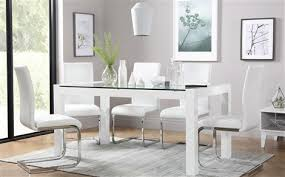 white dining room table. Venice White High Gloss And Glass Dining Table - With 4 Perth Chairs Room