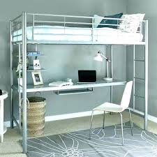 metal bunk bed with desk. Brilliant Bunk White Metal Loft Bed With Desk Bunk  Sleep Study Slide To