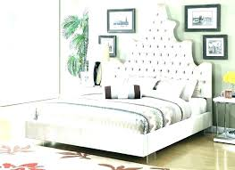 White Leather Tufted Bed With Crystals Headboard Crystal Bedroom Set ...