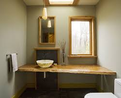 modern and minimal bathroom with asian influences live edge vanity design studio iii natural wood o20