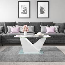 1 of 5free glass coffee table with white high gloss stand tiffany range tiff023