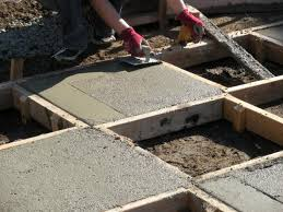 pour concrete into the squares that donu0027t have stakes in middle of them how to build a patio t35