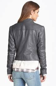 lyst jessica simpson trey faux leather moto jacket in gray