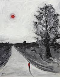 black white oil paintings traveler abstract black white and red artwork fine art print