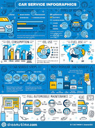 Engine Oil Chart For All Vehicles Infographic Of Car Service And Oil Use Statistics Stock