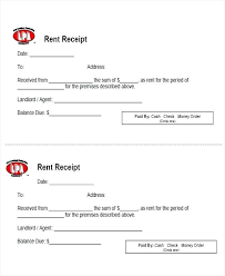 Rent Payment Receipt Landlord Rent Receipt Template