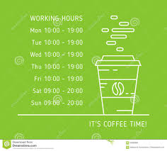 Hours Of Operation Design Coffe Time Working Hours Color Stock Vector Illustration