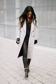 the best winter coats club monaco kallis coat grey and black gigi x tommy leather leggings