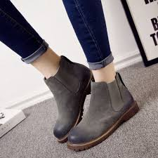 warm winter boots pure leather ankle boots slip on creepers casual flat heel female shoes las footwear