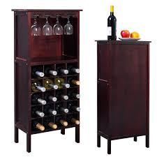 Costway Wood Wine Rack Holder Storage Shelf Display w/ Glass Hanger  (20-Bottle(Cabinet)) - Free Shipping Today - Overstock.com - 23535012