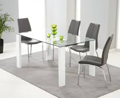 remarkable ideas dining table with grey chairs lavina 150cm glass and white high gloss dining table