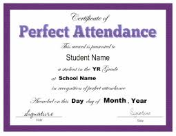 free perfect attendance certificate perfect attendance certificate template