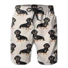 Dachshund Color Chart Amazon Com Mens Casual Sleep Shorts New Wiener Dog Fabric