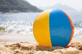 beach ball on beach. Beach Ball By The Ocean On