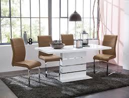 Säulentisch Anna 120160x80x76 Cm Weiß Hochglanz Es Real