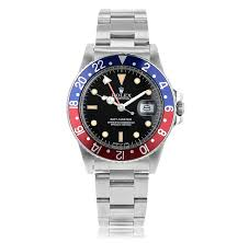 preowned second hand luxury watches the watch gallery® pre owned rolex gmt master automatic stainless steel black dial mens watch 16750