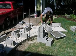 image of making cinder block fireplace