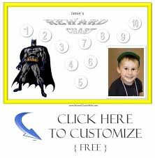 Batman Behavior Chart Personalized Reward Charts For Boys