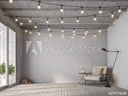 scandinavian loft style living room 3d