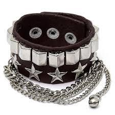 punk uni wristband metal studded leather english letter bracelet cool fashion 3 4 22cm