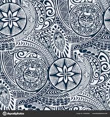 Polynesian Hawaiian Style Tribal Tattoo Fabric Vector Seamless