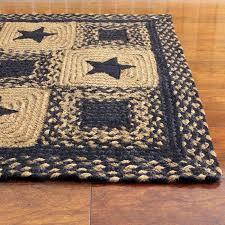 primitive area rugs black country star jute braided rugs