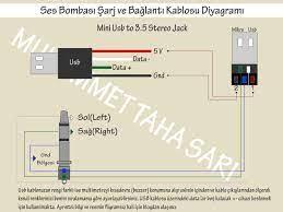 Bilgisayar Bilimi (Kur 1, Kur 2) : Ses Bombası Şarj Kablosu Diyagramı - Ses  Bombası Bağlantı Kablosu Diyagramı - Mini Usb to 3.5 jack - Stereo Jack-  Usb to Stereo