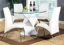 country table and chairs minimalist dining room modern round white high gloss clear glass dining table