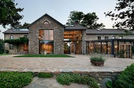 country homes designs. modern house with stone walls and huge windows country homes designs