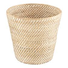 Trash Cans And Wastebaskets Fascinating Whitewash Rattan Trash Can The Container Store