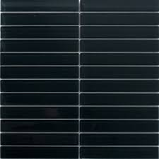 Sheet of 1x6 Inch Charcoal Black Glass Subway Tile