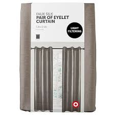 faux silk pair of eyelet curtains charcoal