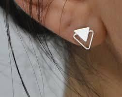 Silver <b>triangle stud</b> | Etsy
