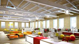 office space decoration. Office:Nice Looking Decoration For Creative Office Space With Orange Leather Sofa And Ball Shape D