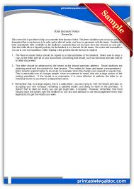 how to write a rent increase notice free printable rent increase notice form generic