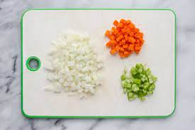 miʁ.pwa) is a flavor base made from diced vegetables cooked—usually with butter, oil, or other fat—for a long time on low heat without coloring or browning, as further cooking, often with the addition of tomato purée, creates a darkened brown mixture called pinçage. Mirepoix 101