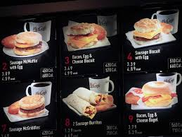 items on the breakfast menu including the calories are posted at a mcdonald s restaurant