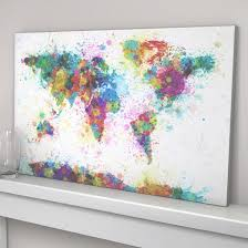 large wall art canvas print colorful world map paint splash inside throughout world map wall on colorful wall art canvas with photo gallery of world map wall art canvas viewing 26 of 45 photos
