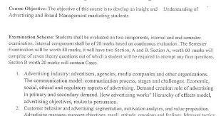 brand management objectives davv syllabus devi ahilya vishwavidyalaya universitysyllabus