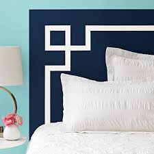 headboard with a white stripe on a teal background