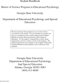 Student Handbook Master Of Science Program In Educational