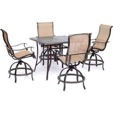 manor 5 piece high dining set with 4 sling swivel chairs and square cast