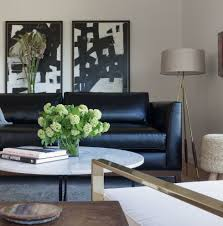 Leather Couch Living Room Black Leather Sofa Living Room Contemporary With Artwork Black